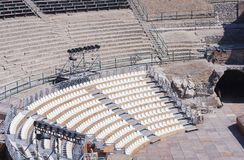 Seats in antique amphitheater Teatro Greco in Taormina, Sicily, Italy royalty free stock images