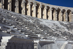 Seats and arches in the Roman theatre of Aspendos Stock Photos