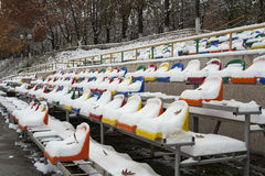 The seats of the arena under the snow. Stock Images