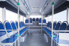 Seats of bus as public transportation. Bus interior with seats for passengers in public transportation Royalty Free Stock Photos