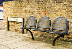 Seats at the bus stop. In England Stock Image