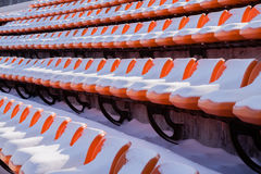 Seats are covered by snow Stock Photos