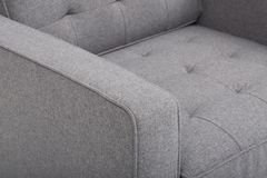 Seats cozy leather sofa, 2 seater modern sofa in light grey fabric, 2-Seat Sofa, Feather Cushion Sofa, - Image.  stock photos