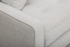 Seats cozy leather sofa, 2 seater modern sofa in light grey fabric, 2-Seat Sofa, Feather Cushion Sofa,.  stock image