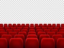 Seats at empty movie hall or seat chair for film screening room. Isolated red armchairs for cinema, theater or opera. Interior with blank transparent screen royalty free illustration