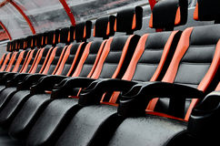Seats on football stadium Stock Photos