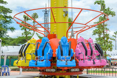 Seats of free fall tower Stock Image