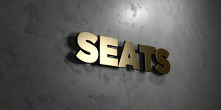 Seats - Gold sign mounted on glossy marble wall - 3D rendered royalty free stock illustration. This image can be used for an online website banner ad or a stock illustration