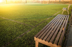 Seats in indoor futsal pitch,artificial turf stock photo