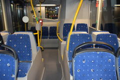 Seats inside Dubai RTA bus. With card punching machine.Bus with out conductor Stock Photo