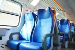 Seats inside an Italian train royalty free stock photos