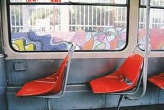 Seats inside the passenger tramway ČKD KT4 Stock Photo