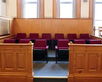 Empty jury Box. Seats of the jury box in a courtroom royalty free stock images