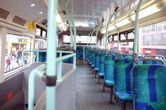 Seats on a London bus. A view of the empty seats of a London bus Royalty Free Stock Images