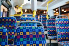 Seats in modern city bus. stock photo