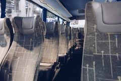 Seats in modern coach bus. stock image