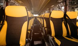 Seats in modern coach bus. royalty free stock photo