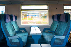 Seats in modern train Royalty Free Stock Images