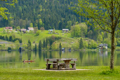 Seats near the lake. Stock Photo