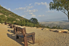 Seats overlooking scenic view Royalty Free Stock Photo