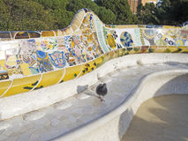 Seats of Park Guell. Barcelona Stock Images