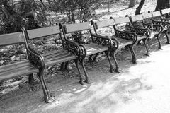 Row of seats in a park , classical design in forged iron Stock Image
