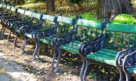 Seats in a park Stock Photography