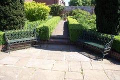 Seats, pathway of Culpepper garden, Leeds Castle garden, England. Pathway and benches of Leeds castle in Maidstone, Kent, England, Europe Stock Photos