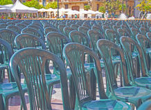 Seats prepared for the street show. Spain Stock Photo