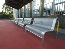 Seats beside Soccer football sports court Stock Photography