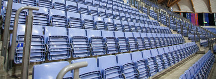 Seats in sport centrum blue. Seats in sport centre blue Royalty Free Stock Images