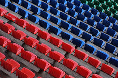 Seats at stadium. Rows of seats at football stadium Stock Images