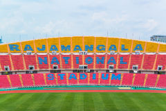 Seats on stadium steps bleacher with spot light pole Stock Photography