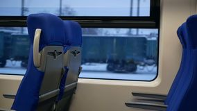 Seats suburban train. Seats in a suburban train in the european region stock video