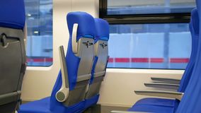 Seats suburban train. Seats in a suburban train in the european region stock video footage