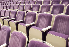 Seats in theatre. Rows of comfortable seats in concert hall Stock Image