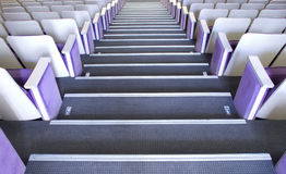 Seats in theatre. Rows of comfortable seats in concert hall Stock Photos