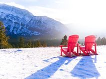 Seats at the top of a mountain royalty free stock photography