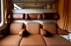Seats train compartment Stock Photos