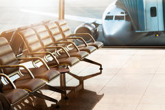 Seats, view from airport hall. Stock Images