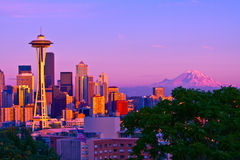 Seattle. And Mount Rainier at sunset