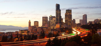 Seattle Skyline Buildings Lights Dusk Royalty Free Stock Image