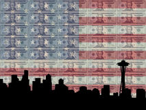 Seattle with 20 dollar bill. Seattle skyline with 20 dollar bill and American flag royalty free illustration