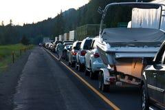 SEATTLE - 6 DE JULIO: El tráfico se para para las millas como Foto de archivo libre de regalías