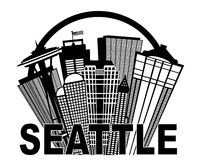 Seattle Abstract Skyline in Circle Black and White. Seattle Washington Abstract Downtown City Skyline in Circle Black Isolated on White Background Illustration Stock Image