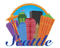 Seattle Abstract Skyline in Circle Illustration Royalty Free Stock Photos