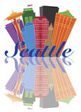 Seattle Abstract Skyline Reflection Illustration Royalty Free Stock Photo