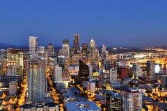 Seattle Aerial Skyline at Dusk Stock Photo