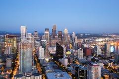 Seattle Aerial Skyline at Dusk Stock Photos