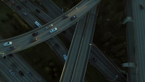 Seattle Aerial. V72 Flying low vertical shot looking down over freeway and interchanges